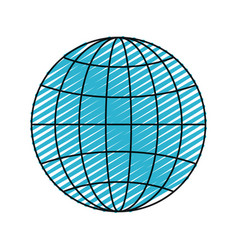 color crayon silhouette front view globe earth vector image