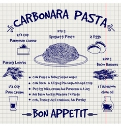 Cookbook design recipe carbonara pasta sketch vector image vector image