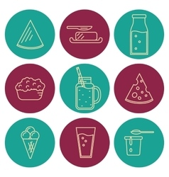 Dairy icons set in line style design vector