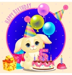 Happy birthday greeting card with cute dog vector image