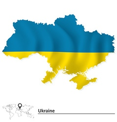 Map of Ukraine with flag vector image