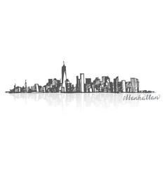 sketch of manhattan new york vector image