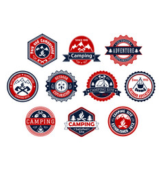 camping outdoor adventure badge for travel design vector image vector image