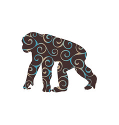 Chimpanzee monkey primater color silhouette animal vector