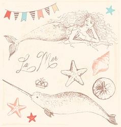 Mermaid Narwhal and Seashells Drawing Set vector image