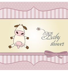new baby girl announcement card with cow vector image vector image