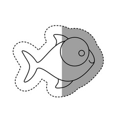 Silhouette fish with big eyes icon vector