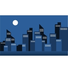 Silhouette of building town at night vector image