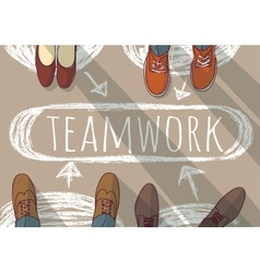 Teamwork group business people and doodles vector image
