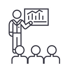 business conference mentor teaching linear icon vector image