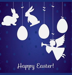 easter paper decoration in the form of rabbits vector image vector image
