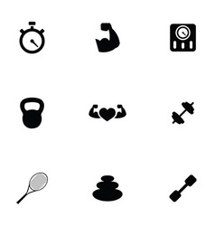 fitness 9 icons set vector image vector image