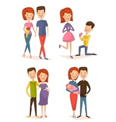 Happy young family couple set vector image vector image