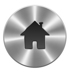 Home Button Icon Metal Round Isolated On White vector image
