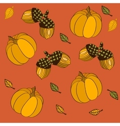 Seamless pattern with pumpkins leaves and acorns vector image