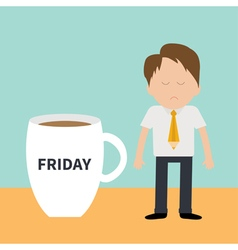 Sleepy businessman manager friday coffee cup mug vector