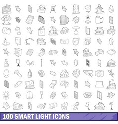 100 smart light icons set outline style vector