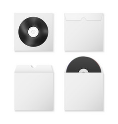 3d realistic black blank cd dvd and paper vector image