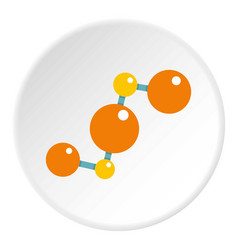 Abstract orange and yellow molecules icon circle vector