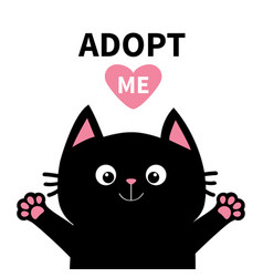 adopt me dont buy pink heart black cat face head vector image