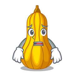 Afraid squash fruit in cartoon wooden box vector
