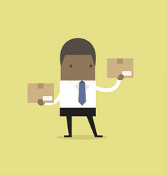 african businessman holding a box vector image