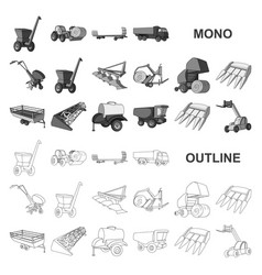 Agricultural machinery monochrom icons in set vector