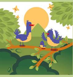 birds on a tree brunch cute vector image