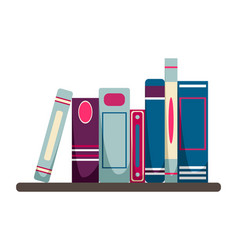 books stand on a hinged bookshelf vector image