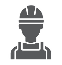 Builder glyph icon engineer and man vector