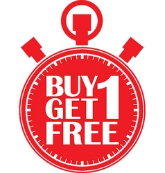 Buy 1 get 1 free red stopwatch vector