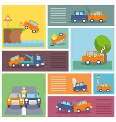 Car crash icons vector