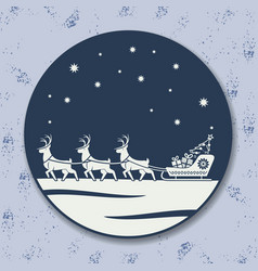 christmas icon reindeer sleigh with gifts vector image