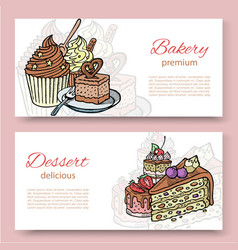 coffee shop or bakery house visit cards set with vector image