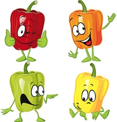 Colored paprika pepper cartoon isolated on a white vector