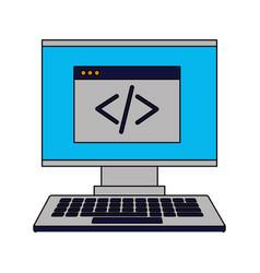 computer monitor keyboard coding website vector image