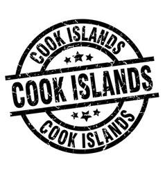 Cook islands black round grunge stamp vector