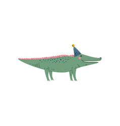 cute crocodile wearing party animal character for vector image