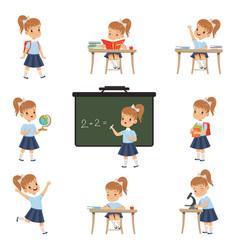 Cute schoolgirl student in uniform in various vector