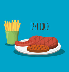 delicious french fries and fries potatoes fast vector image