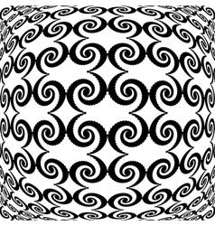 Design monochrome warped grid decorative pattern vector