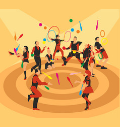 Different jugglers in red and black vector