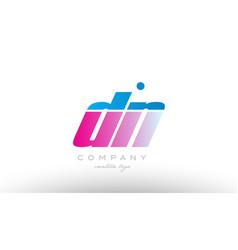 dn d n alphabet letter combination pink blue bold vector image