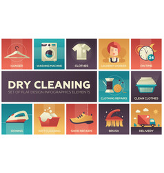 Dry cleaning - set of flat design infographics vector