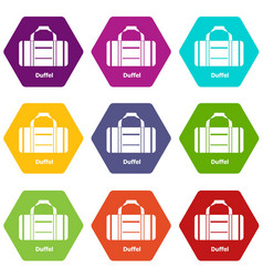 duffel icons set 9 vector image