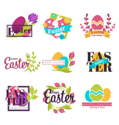easter isolated icons painted eggs and spring vector image