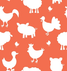Farm animals silhouettes pattern vector