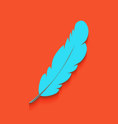 Feather sign whitish icon on vector