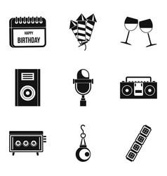 Festive song icons set simple style vector