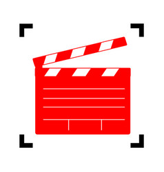 Film clap board cinema sign red icon vector